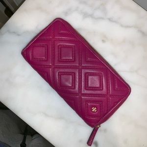 Magenta Tory Burch Continental Zip Wallet
